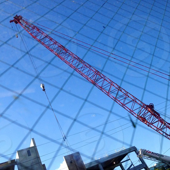 Wire glass construction crane photo