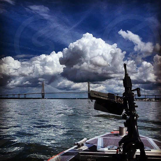 View from the bow of a US Coast Guard patrol boat Charleston SC photo