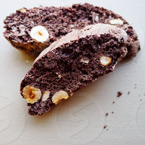 Baking chocolate hazelnut biscotti photo
