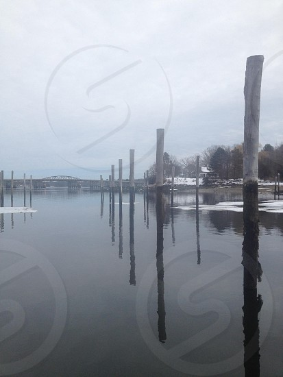 grey wooden water posts on lake under white cloudy sky during daytime photo
