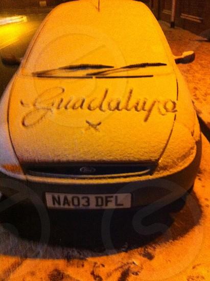 Fine snow writing photo