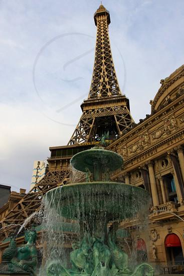 Eiffel Tower Las Vegas Fountain Water flowing photo
