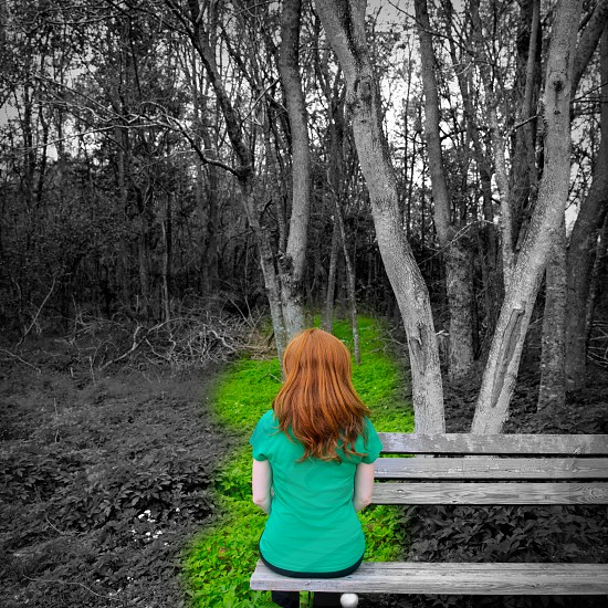 Lonely redhead woman rear view looking to forest sitting on a park bench photo