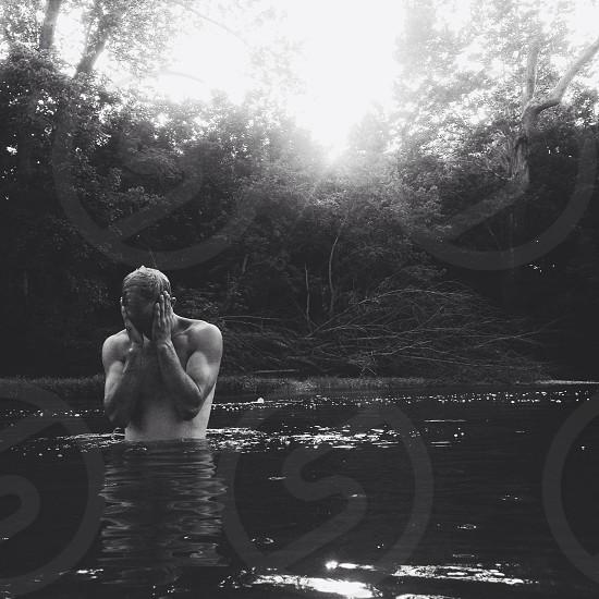 #man #water #river #buff photo