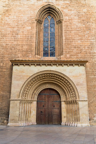 Valencia Romanesque Palau door of Cathedral in Spain photo
