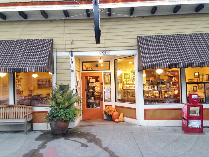 Pumpkins infront of coffee shop photo