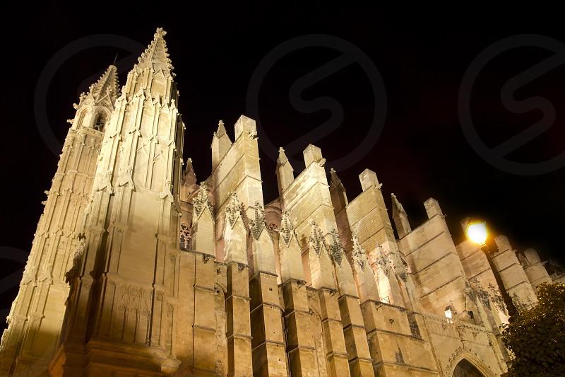 Cathedral of La Seu Majorca in Palma de Mallorca night view Balearic Islands photo
