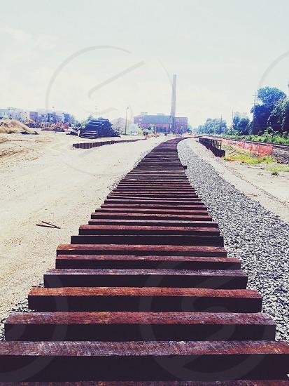 Urban adventure railroad railroad track construction city urban renewal photo