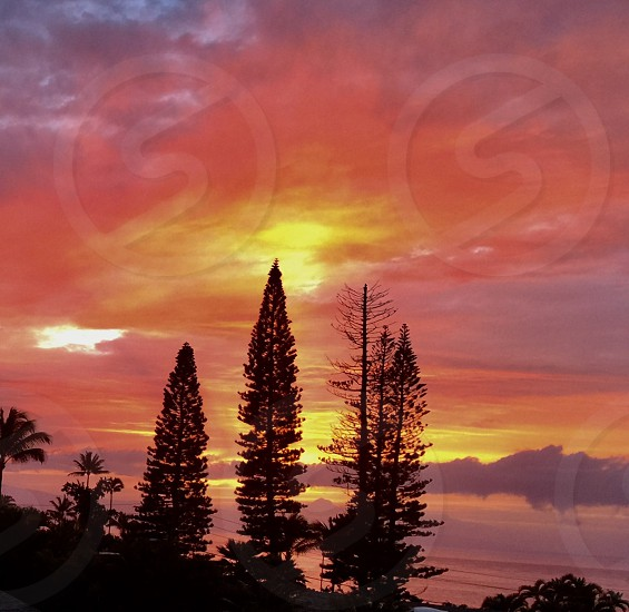 Sunset. over Island of Lanai Hawaii  photo