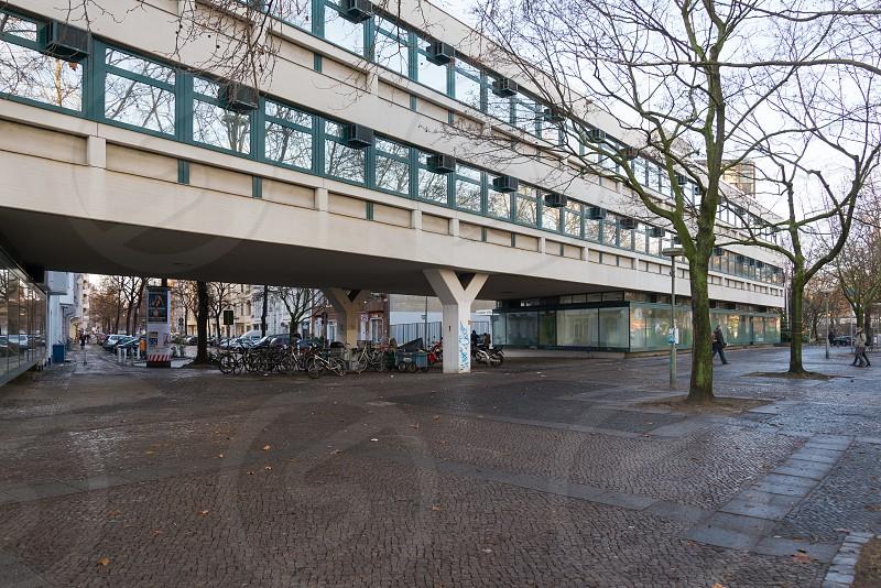 Scenery along Hohenzollerndamm street between Preußenpark and Spichernstraße inside Wilmersdorf Neighborhood in Berlin Germany photo