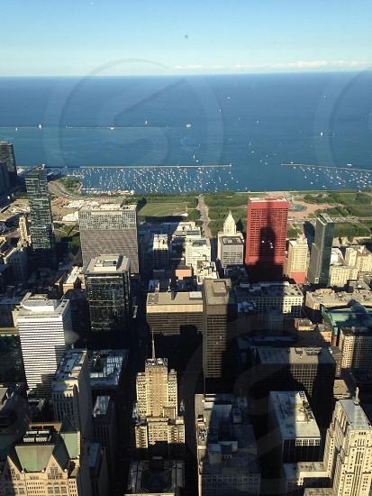 Chicago skyline looking at Lake Michigan photo