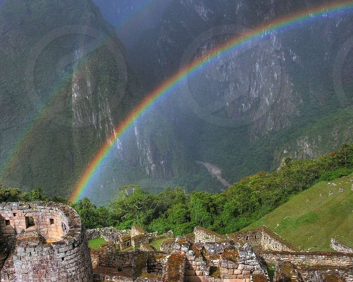 Rain and Rainbow over Machu Picchu photo