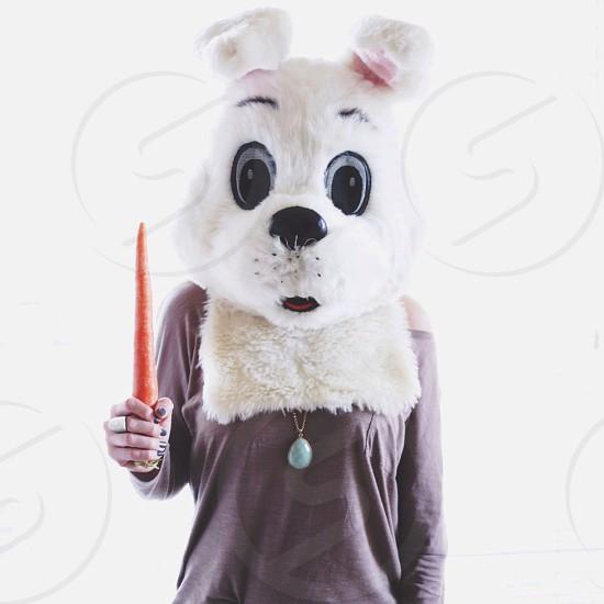 woman wearing rabbit head holding radish on right hand standing photo