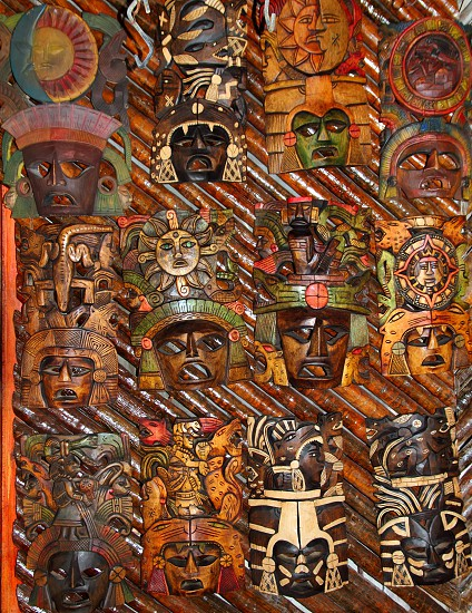 beautiful Mexican wooden mask handcrafted wood faces photo