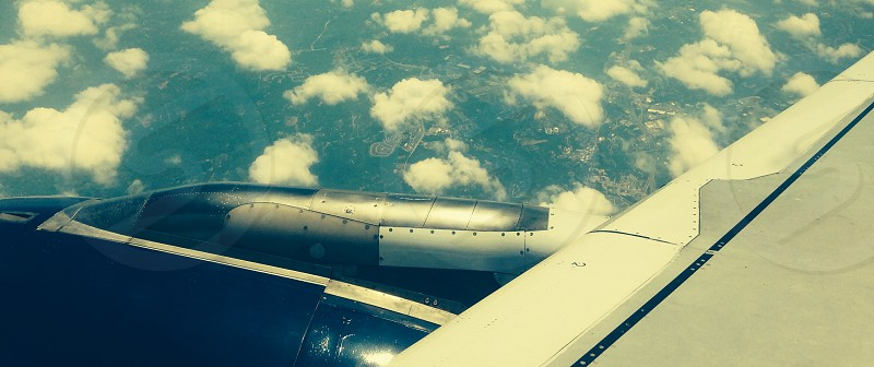 Sky clouds space aircraft wing demetriusphilp shape lines air above blue  photo