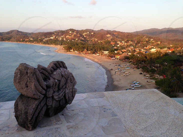 View from the top of the hill in Sayulita beach Mexico photo