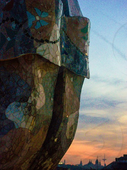 tiffany-style glass structure during sunset photo