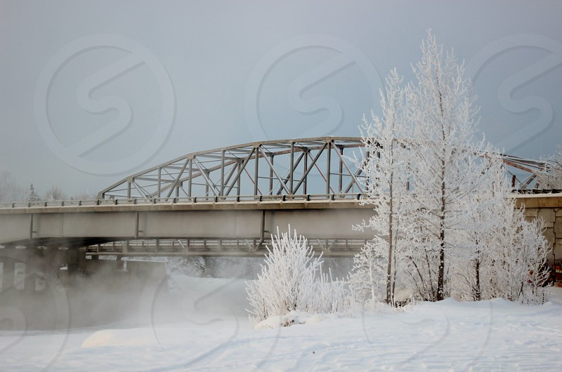 This shot is of the bridge over the Matanuska River in Palmer Alaska. It was approximately -18 degrees when photograph was taken. photo