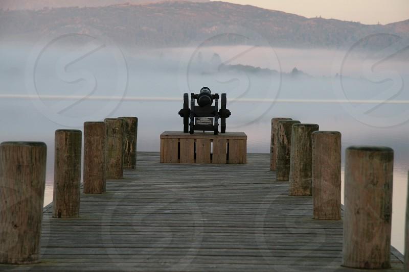 Cannon mist lake calm photo