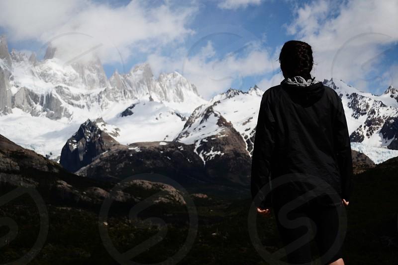 Trekking in Patagonia Argentina. Featuring Cerro Fitz Roy (tallest mountain in Patagonia) photo