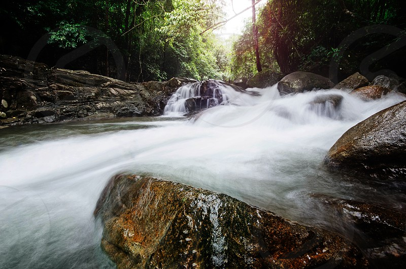 Waterfall rocks forest stone outdoor photo