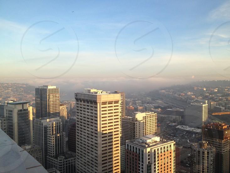 Clouds shroud Lake Union downtown  photo