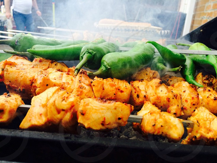 Green peppers + chicken shish photo