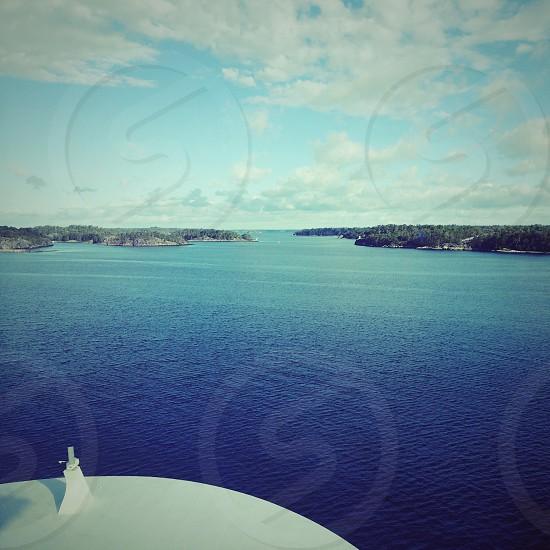 Bow of Riga to stockholm ferry entering stockholm archipelago. Ship boat photo