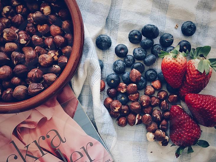 Berries health Healthy eating nuts strawberries  blueberries hazelnuts photo