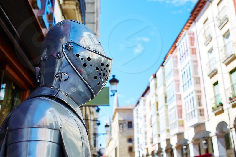 Burgos warrior medieval armor armour next to Cathedral in Castilla Spain photo
