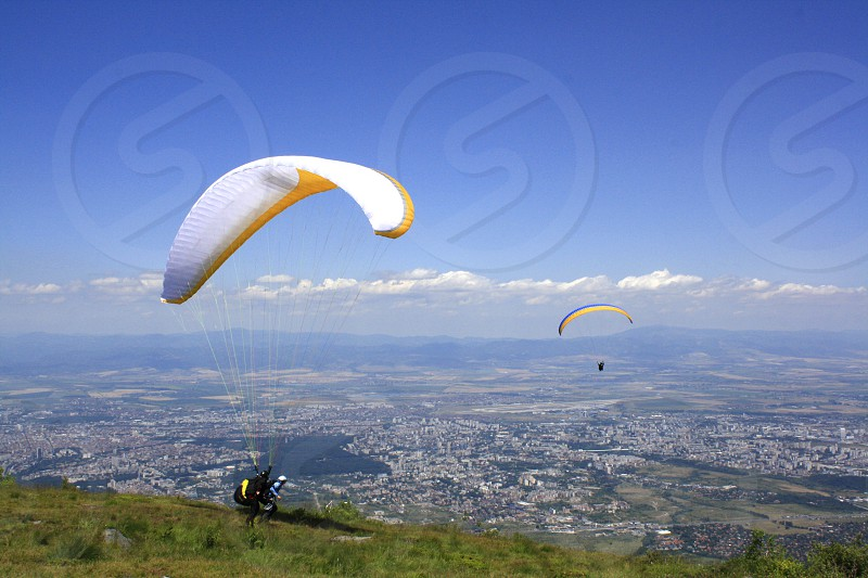 Paragliding over Sofia a Capital of Bulgaria photo