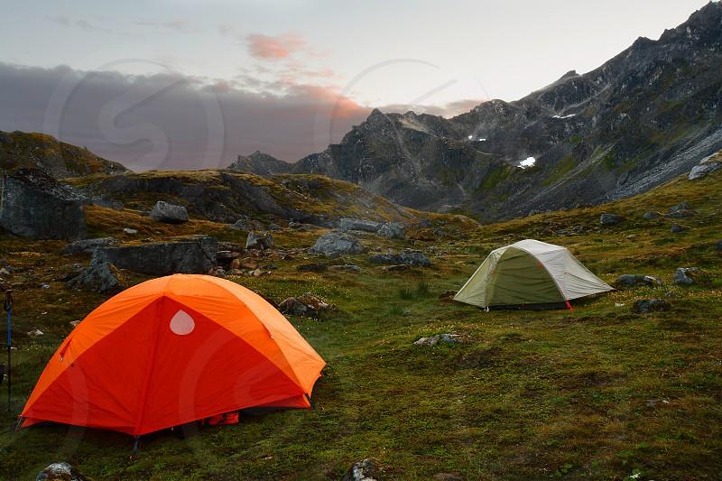 Tents set up near Upper Reed Lake in the Talkeetna Mountains Alaska. photo