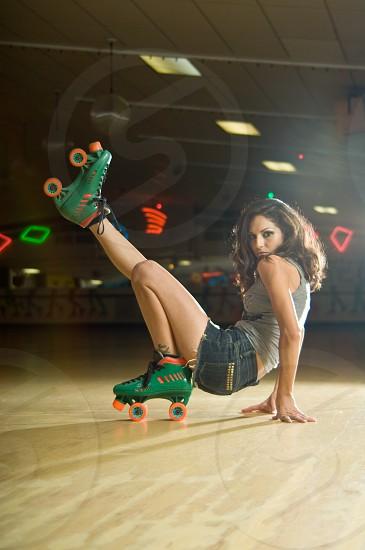 skating roller skate skating rink retro fashion model female woman night urban hip photo