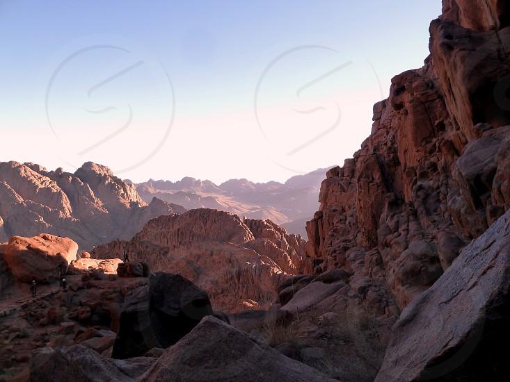 Mount Sinai Egypt Moses mount rocks mountain dawn photo