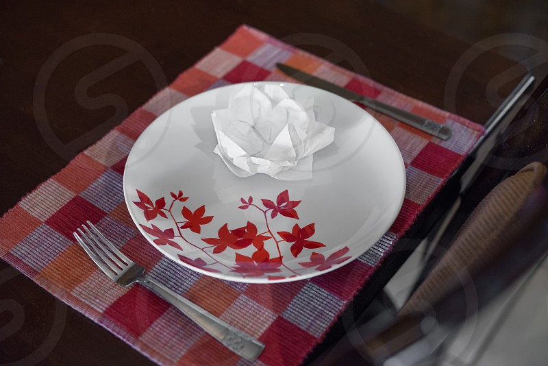 Dinner napkin flower photo
