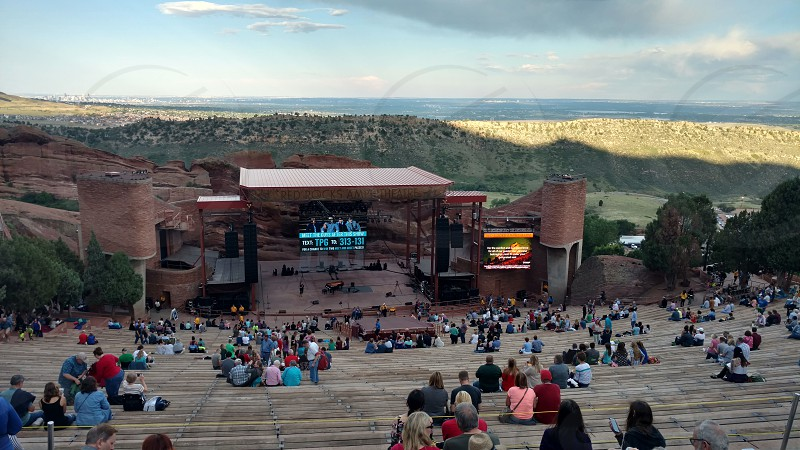 Red Rocks Amphitheatre Colorado. Summertime Concert The Piano Guys outdoor amphitheatre photo