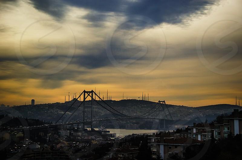morning sunrise dawn istanbul bridge bosphorus water clouds skyline photo