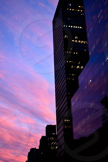 Pink and purple unset in New York City; Manhattan photo