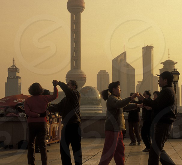 the skyline of Pudong in the City of Shanghai in china in east asia.  photo