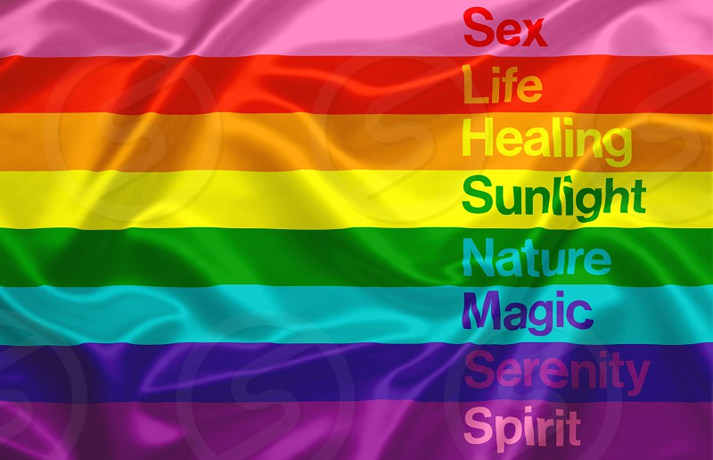 the Gay Pride flag composed of the eight colors of the rainbow. Each color represents a feeling: sex life healing sunlight nature magic / arts serenity and spirit photo