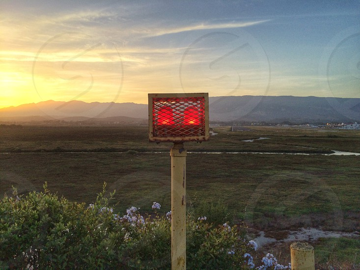 red light road sign photo