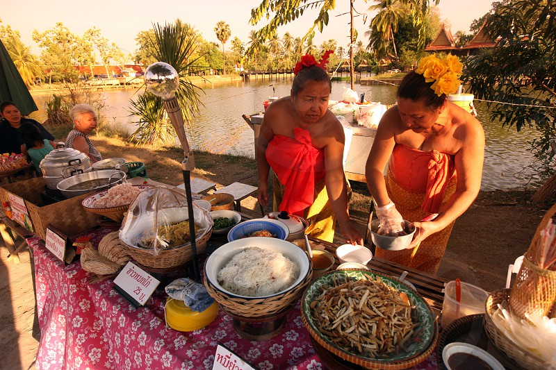 the market in the old town of  Sukothai in the Provinz Sukhothai in the north of Bangkok in Thailand Southeastasia. photo