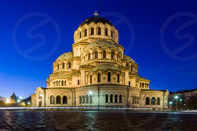 Here is a photo of the Saint Alexander Nevsky Cathedral an Orthodox cathedral located in Sofia the capital of Bulgaria. The photo was taken during the blue hour. photo