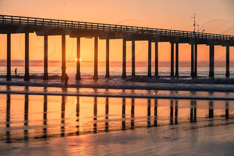 Sunset Pier Reflection. La Jolla CA. photo
