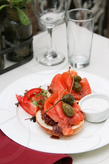 Bagel and smoked salmon photo