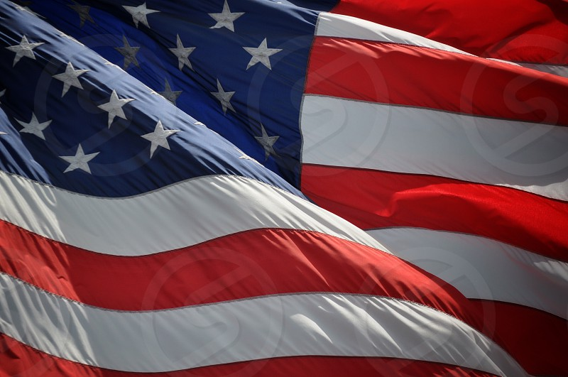 red white and blue united states flag photo