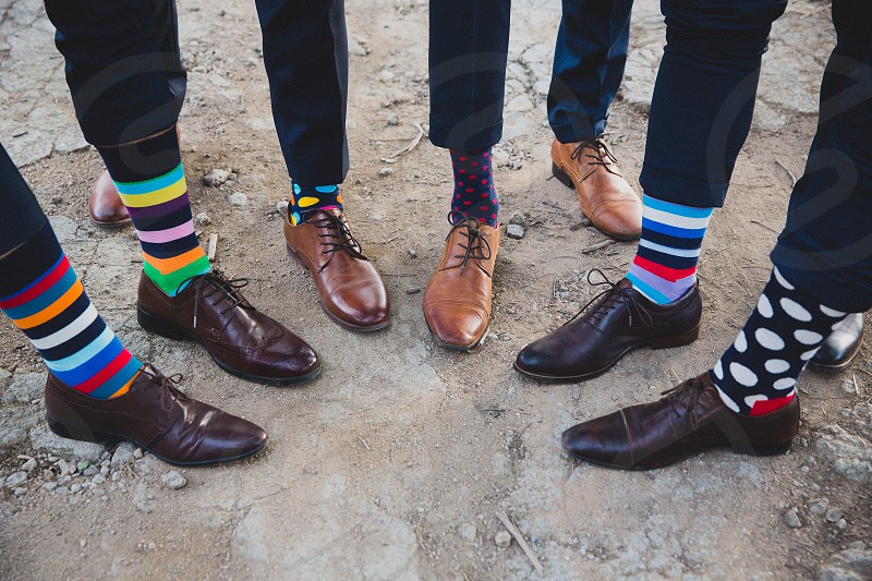 groomsmen socks shoes happy socks colourful socks smart feet event wedding groom wedding day celebrate matching mismatched  photo
