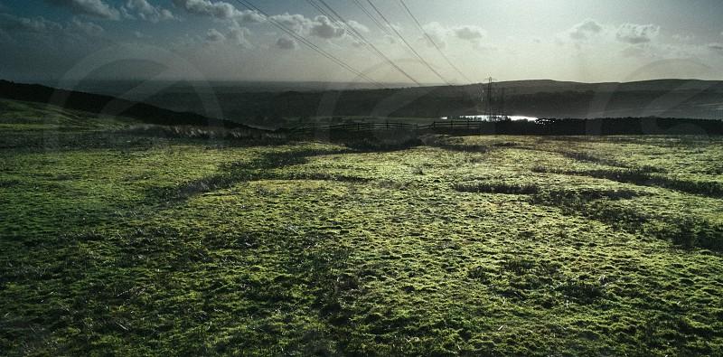 Sunset on a textured field. photo