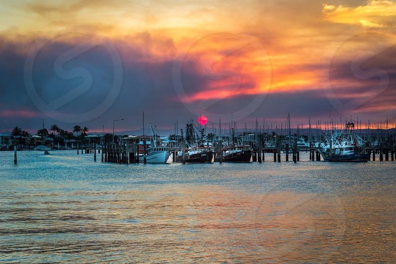 Sunset fire smoke haze photo