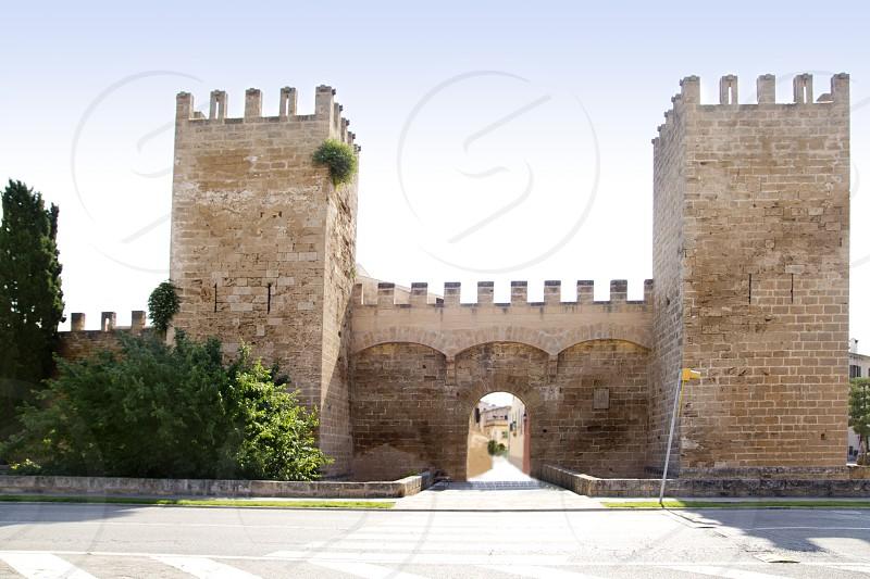 Alcudia puerta de la muralla in north Mallorca castle wall door photo